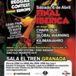 Final ibérica del concurso European Reggae Contest, el 6 de abril en la sala El Tren de Granada con Chapa Dux, Kilimanjahro y Global Warning en directo